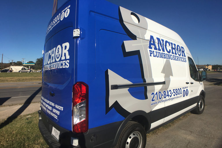 Anchor Plumbing Van Wrap, Texas Car Wraps