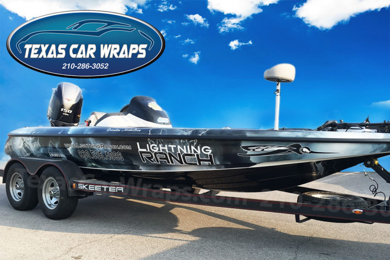 Lightning Ranch Boat Wrap, Texas Car Wraps
