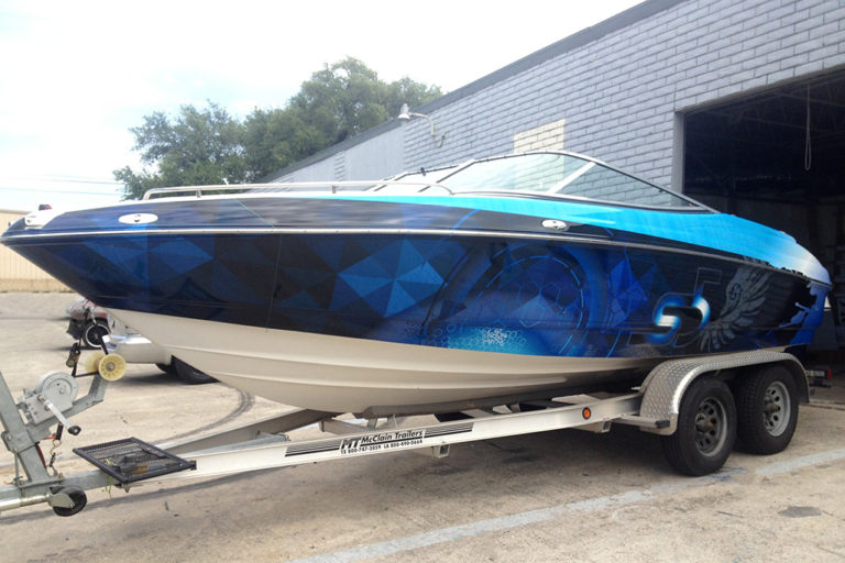 Geometric Design Boat Wrap, Texas Car Wraps