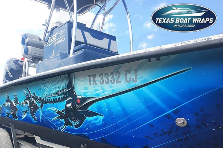 Fish Skeleton Boat Wrap, Texas Car Wraps