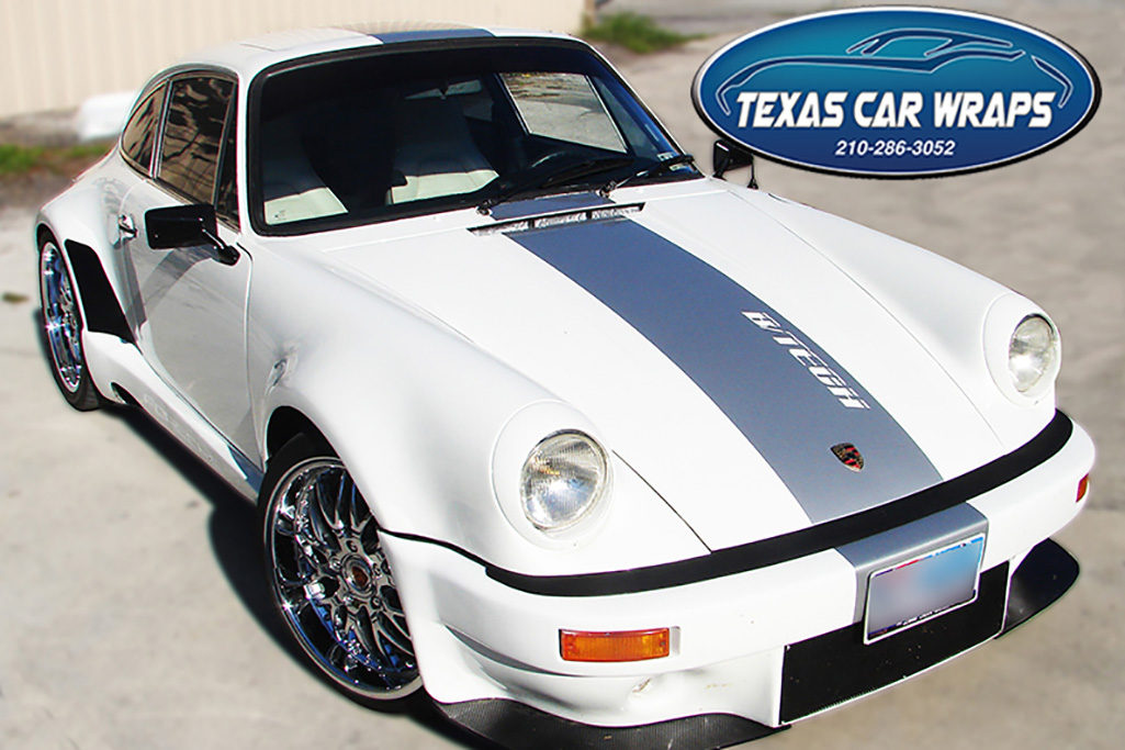 Porsche Racing Stripe Wrap, Texas Car Wraps